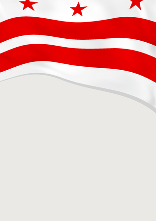 Leaflet design with flag of District of Columbia, US. Vector template. Illustration