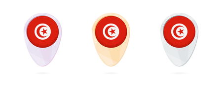 Map markers with flag of Tunisia, 3 color versions.