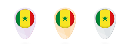 Map markers with flag of Senegal, 3 color versions.
