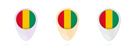 Map markers with flag of Guinea, 3 color versions.