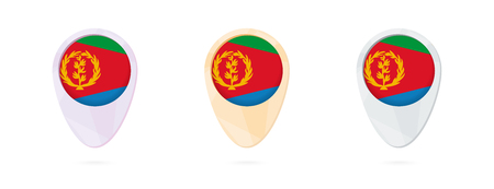Map markers with flag of Eritrea, 3 color versions.