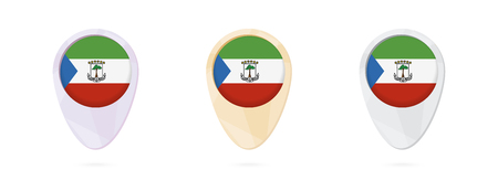Map markers with flag of Equatorial Guinea, 3 color versions.