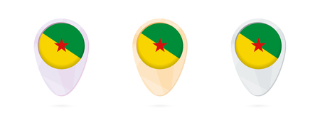 Map markers with flag of French Guiana, 3 color versions.