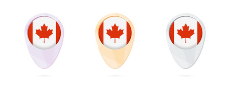 Map markers with flag of Canada, 3 color versions. Ilustrace