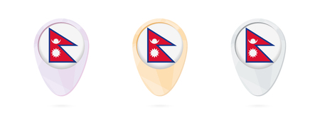 Map markers with flag of Nepal, 3 color versions.