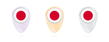 Map markers with flag of Japan, 3 color versions. Illustration