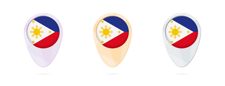 Map markers with flag of Philippines, 3 color versions.