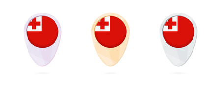 Map markers with flag of Tonga, 3 color versions. Illustration