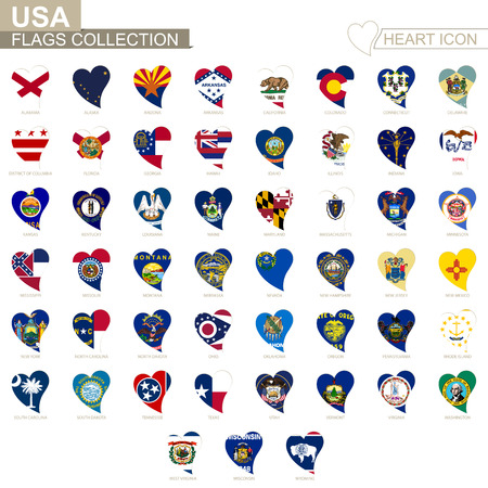 Vector flag collection of USA States. Heart icon set. Vettoriali