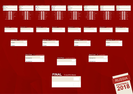Tournament bracket for football competition 2018 in Russia on abstract red background.