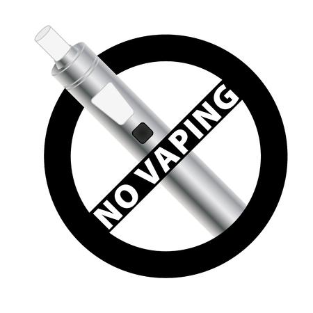 No vaping black sign. Vape silver electronic cigarette device. Vector illustration.