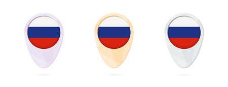 Map markers with flag of Russia, 3 color versions. Illustration