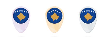 Map markers with flag of Kosovo, 3 color versions.