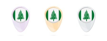 Map markers with flag of Norfolk Island, 3 color versions. Illustration
