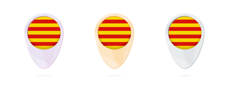 Map markers with flag of Catalonia, 3 color versions. Illustration