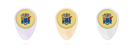 Map markers with flag of US state New Jersey, 3 color versions.