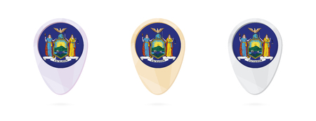 Map markers with flag of US state New York, 3 color versions.