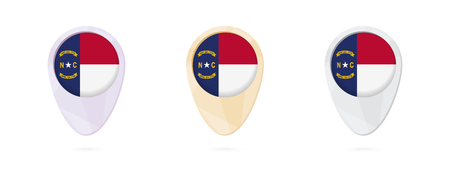 Map markers with flag of US state North Carolina, 3 color versions. Ilustrace