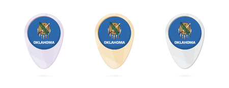 Map markers with flag of US state Oklahoma, 3 color versions.