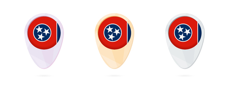Map markers with flag of US state Tennessee, 3 color versions. Reklamní fotografie - 95161507