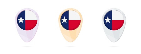 Map markers with flag of US state Texas, 3 color versions.