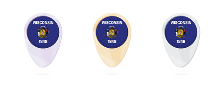 Map markers with flag of US state Wisconsin, 3 color versions.