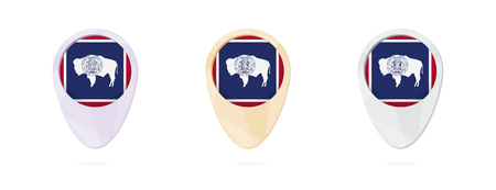 Map markers with flag of US state Wyoming, 3 color versions. Ilustrace