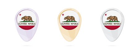 Map markers with flag of US state California, 3 color versions.