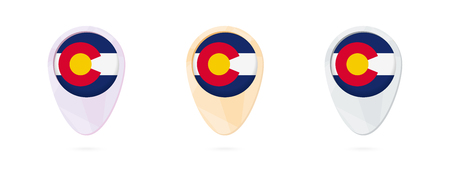 Map markers with flag of US state Colorado, 3 color versions.