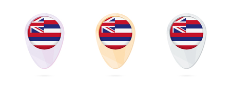Map markers with flag of US state Hawaii, 3 color versions.