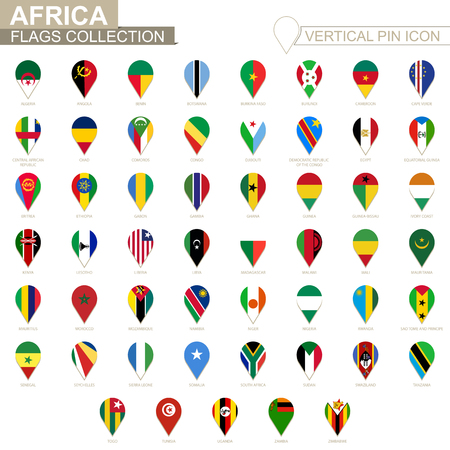 Vertical pin icon, African flag collection.