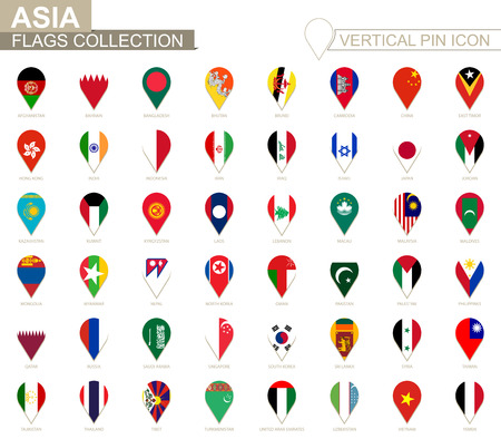Vertical pin icon, Asia flag collection. 矢量图像