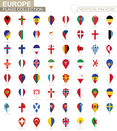Vertical pin icon, Europe flag collection.  イラスト・ベクター素材