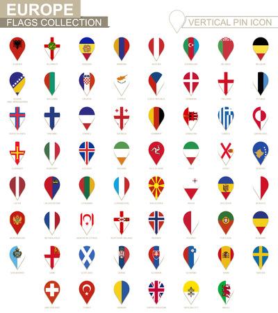 Vertical pin icon, Europe flag collection. Vectores