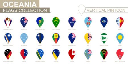 Vertical pin icon, Oceania flag collection.