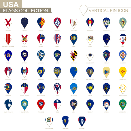 Vertical pin icon, USA states flag collection.