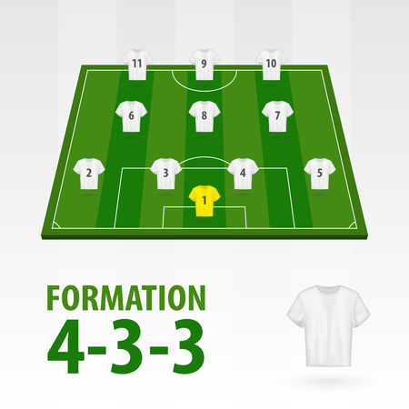 Football players lineups, formation 4-3-3. Soccer half stadium.