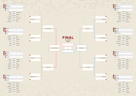 Tournament schedule, Football championship Bracket on beige abstract background.