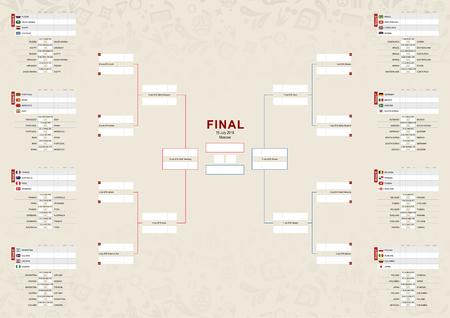 Tournament schedule, Football championship Bracket on beige abstract background.