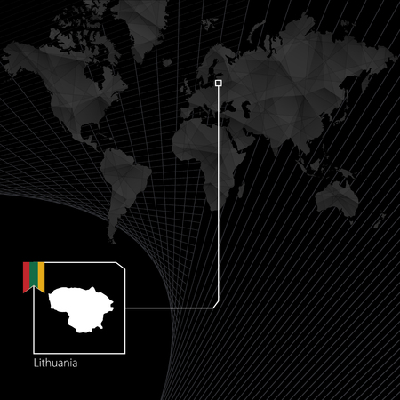 Lithuania on black World Map. Map and flag of Lithuania.