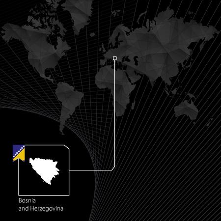 Bosnia and Herzegovina on black World Map. Map and flag of Bosnia.