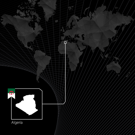 Algeria on black World Map. Map and flag of Algeria.
