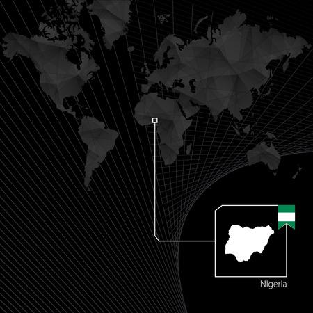 Nigeria on black World Map. Map and flag of Nigeria.