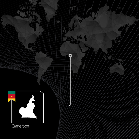 Cameroon on black World Map. Map and flag of Cameroon.