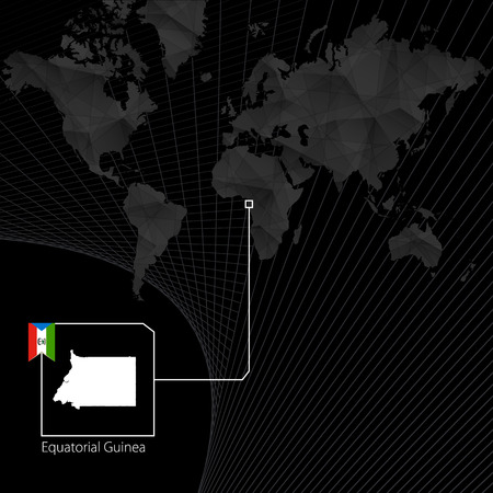 Equatorial Guinea on black World Map. Map and flag of Equatorial Guinea.