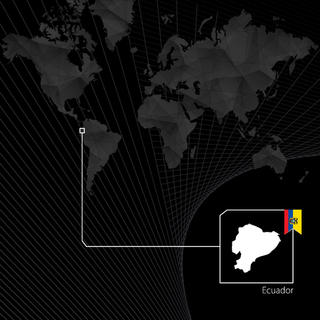 Ecuador on black world map. Map and flag of Ecuador. Ilustração