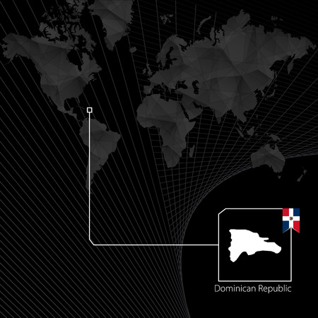 Dominican Republic on black World Map. Map and flag of Dominican Republic.