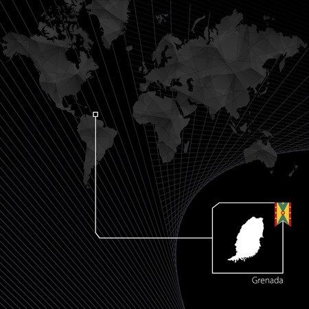 Grenada on black World Map. Map and flag of Grenada.