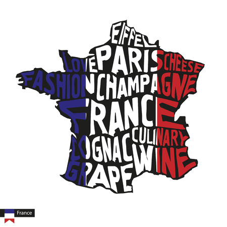Typography map silhouette of France in black and flag colors. Vector Illustration.