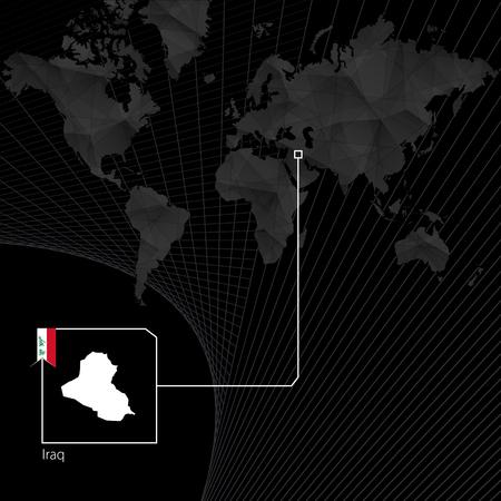 Iraq on black World Map. Map and flag of Iraq.